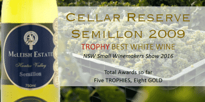 McLeish Estate Wines Awarded NSW Best White Wine at the NSW Small Winemakers Show -